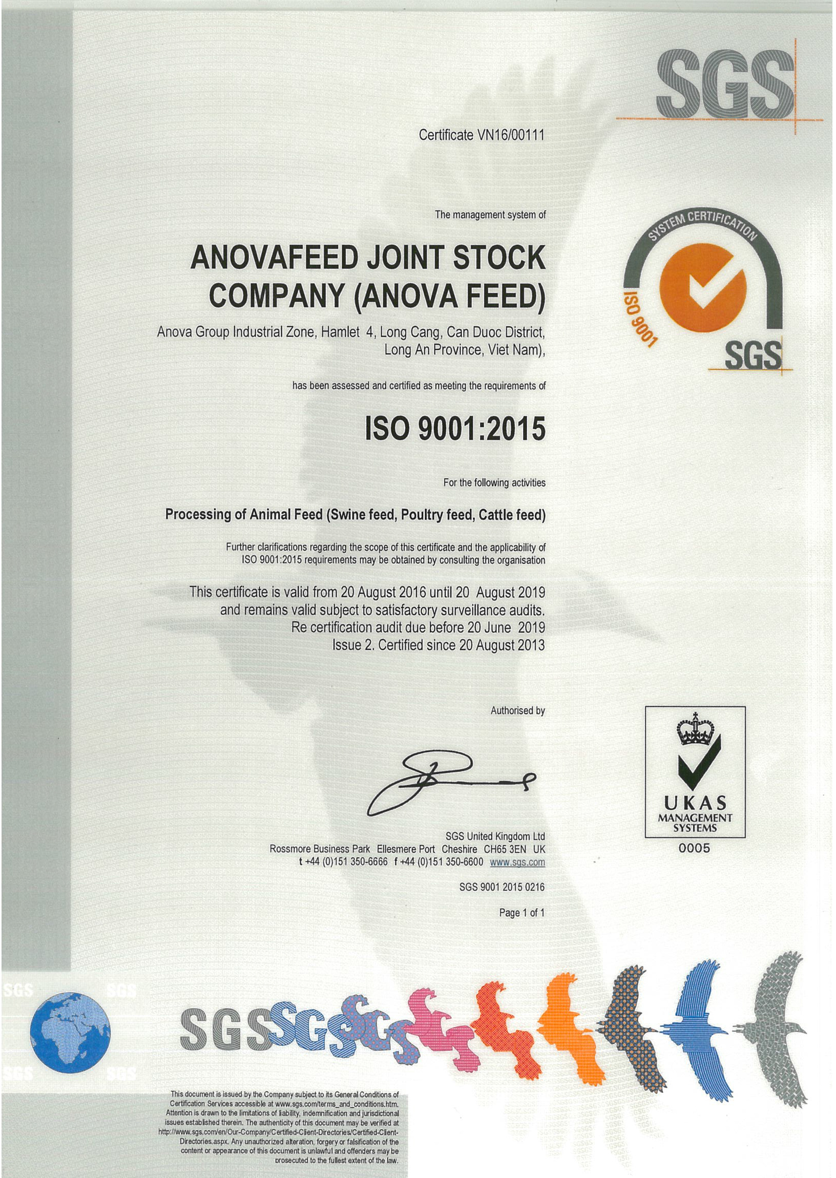 ISO 9001 : 2015 certificate for quality management systems