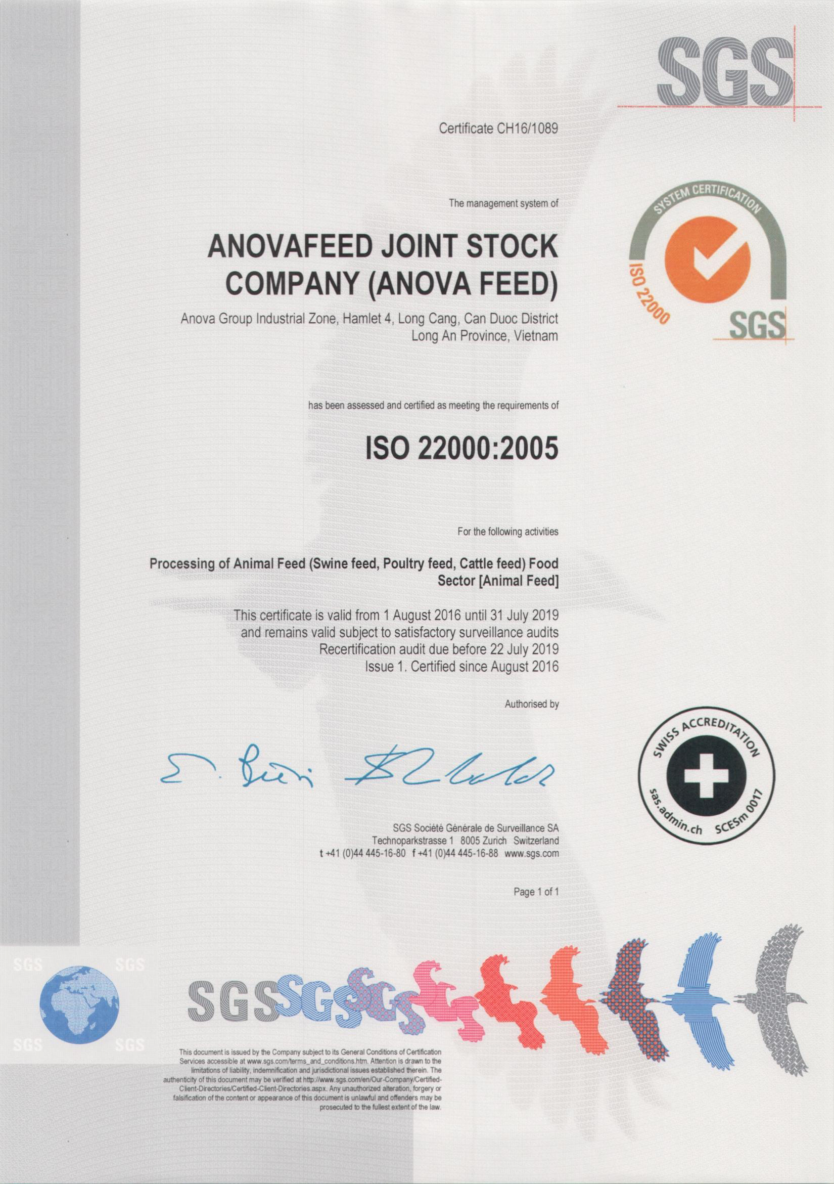 ISO 22000 : 2005 certificate for safe food management systems