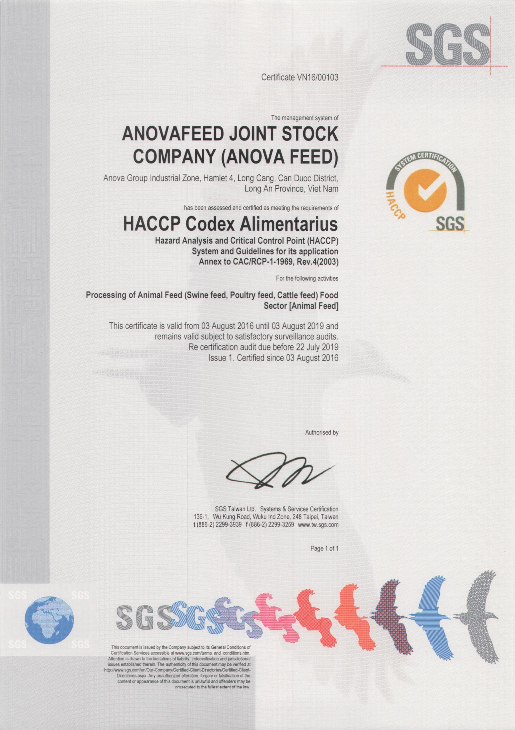 HACCP certificate for safe food management systems